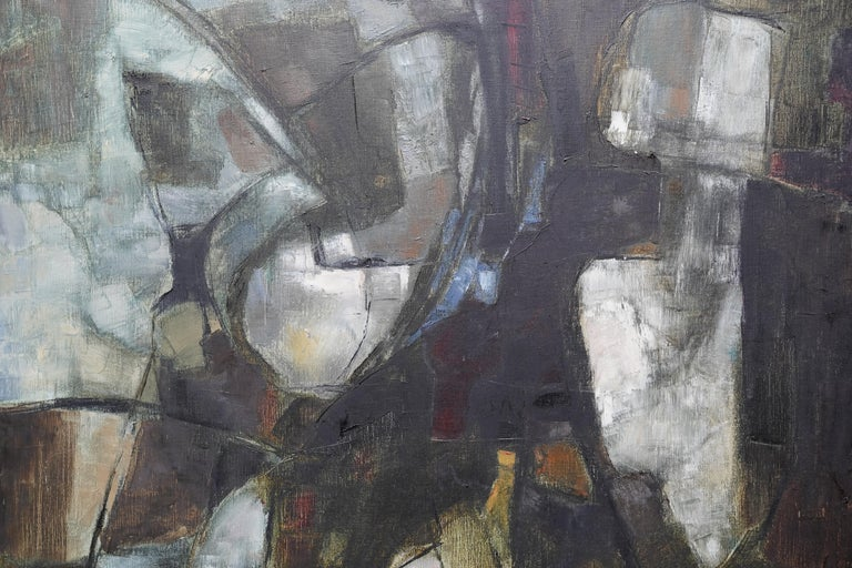 This stunning Abstract Expressionist oil on canvas is by artist Helen M Hale. Painted in the 1960's with strong brushwork and colouring. Labelled verso.  Provenance. Exhibition label from the Federation of British Artists Gallery. Condition. Oil on