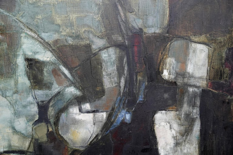 Mistrel - British Abstract Expressionist art 1960's exhibited oil painting For Sale 2