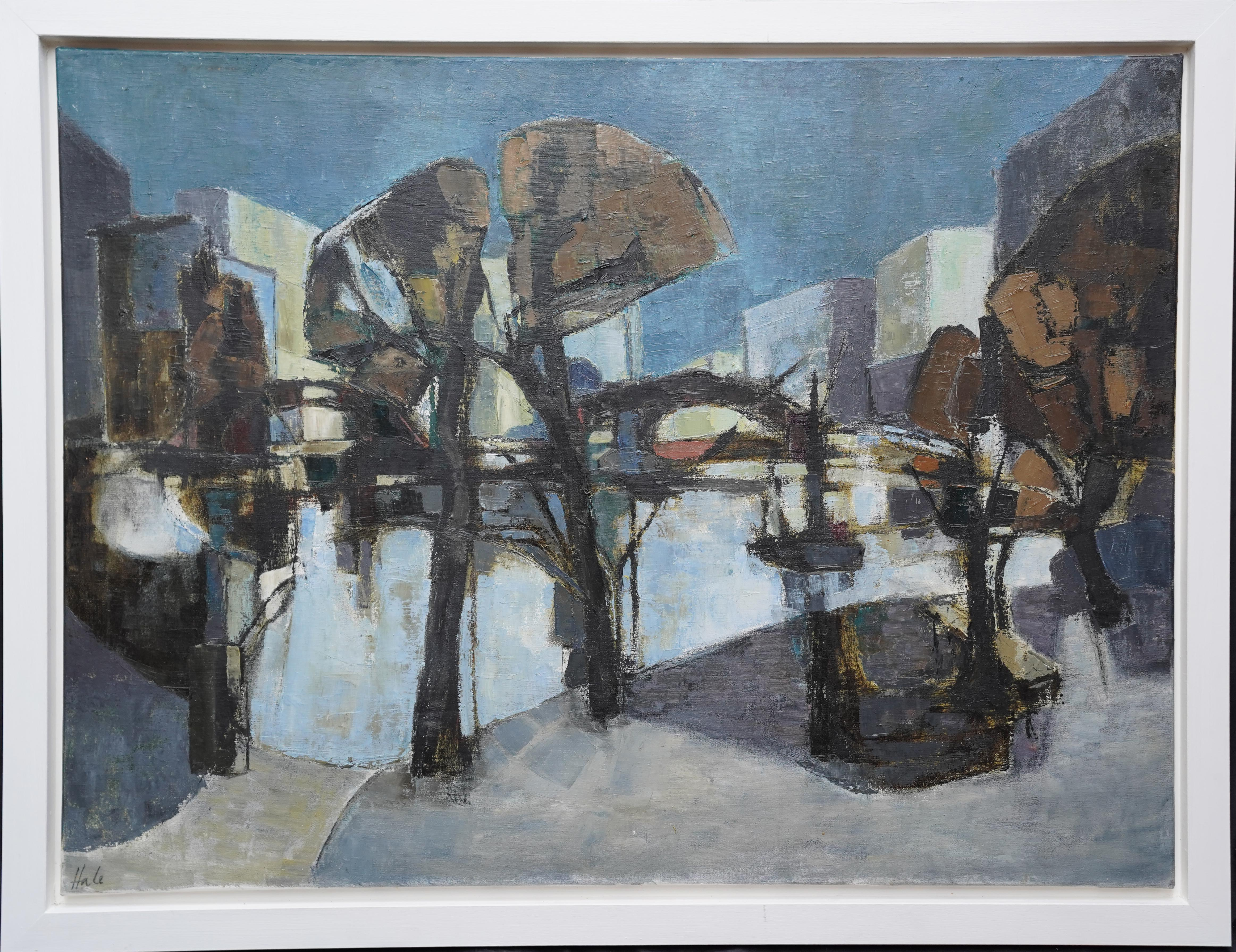 Waterfront - British 1960's art Abstract Expressionist exhibited oil painting