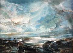 Helen Howells, Light across the Estuary, Original Oil Painting, Seascape Art