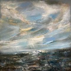 Helen Howells, Tidal, Original Seascape Painting, Art of South Wales Coastline