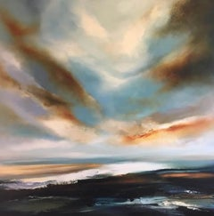 Helen Langfield, Come,... Hear My Call, Seascape, Original Oil Painthing, Blue
