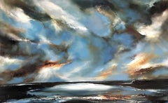 Helen Langfield, Peaceful Surrendering, Original Oil on Canvas, Sea, Skyscape