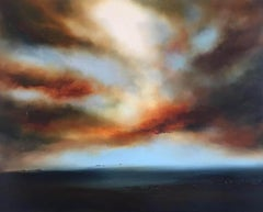 Helen Langfield, Sunset over Sea, Original Art, Landscape, Seascape, Blue, White