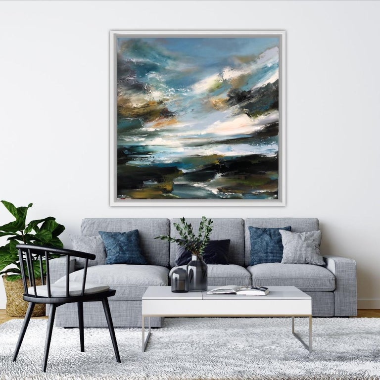 Helen Howells Island Whisperings Original Oil Painting on Canvas Oil Paint on Canvas Canvas size: H 91cm x W 91cm x D 3.5cm Sold – Unframed (Please note that in situ images are purely an indication of how a piece may look))  Island Whisperings is an