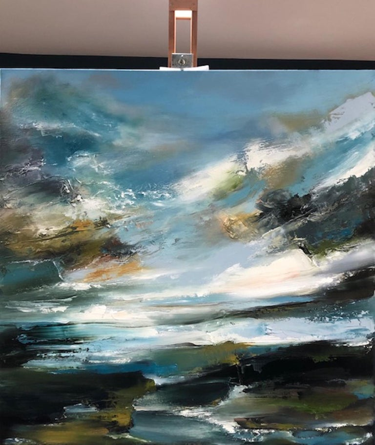 Island Whisperings, Helen Langfield, Helen Howells, Seascape Painting - Gray Landscape Painting by Helen Langfield
