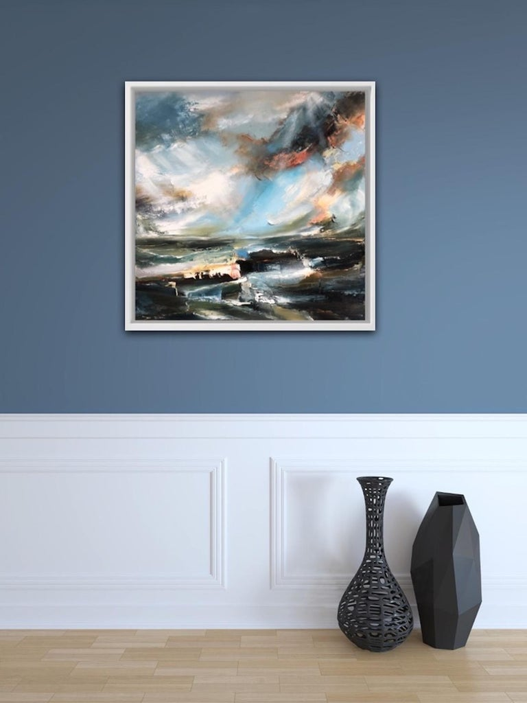 Sacred Song, Helen Howells, Original Contemporary Painting, Abstract Seascape Ar - Gray Abstract Painting by Helen Langfield