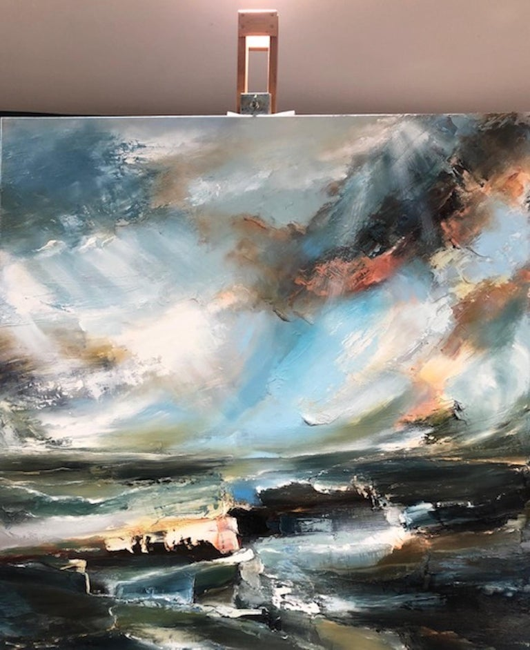 Helen Howells Sacred Song Original Oil Painting on Canvas Oil Paint on Canvas Canvas size: H 91cm x W 91cm x D 3.5cm Sold – Unframed (Please note that in situ images are purely an indication of how a piece may look)  Sacred Song is an original