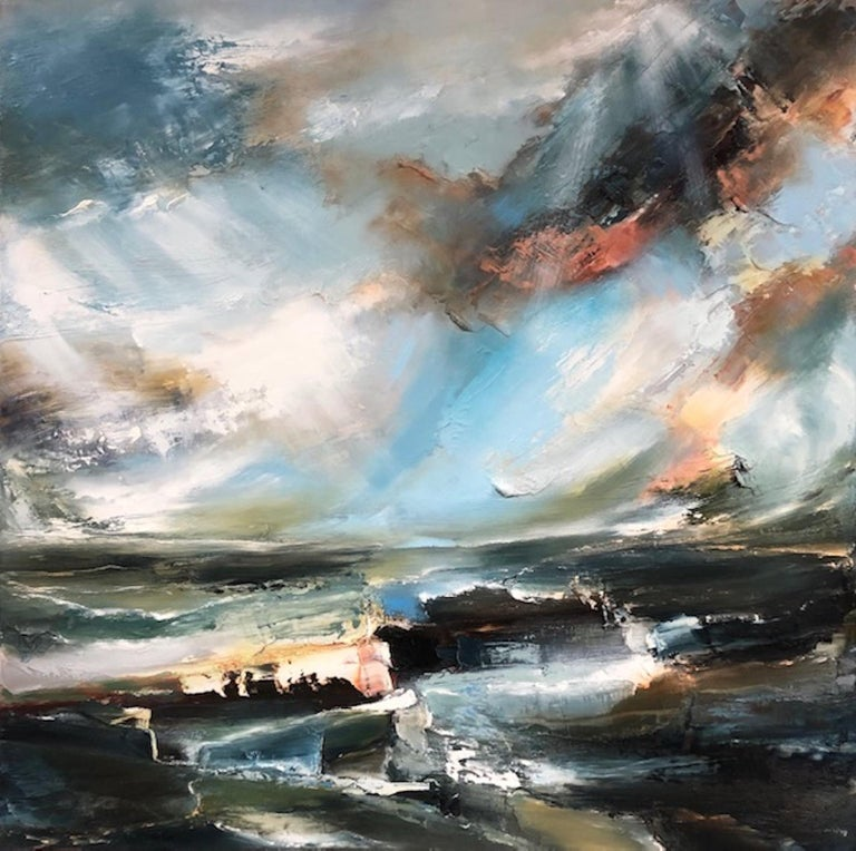Helen Langfield Abstract Painting - Sacred Song, Helen Howells, Original Contemporary Painting, Abstract Seascape Ar
