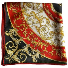 Helen Leigh Silk Neck Scarf Classical Armorial Design from Italian Collection