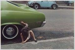 Girl Playing Under Green Car, New York