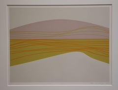 Landscape, yellow, pink and orange serigraph of abstract landscape