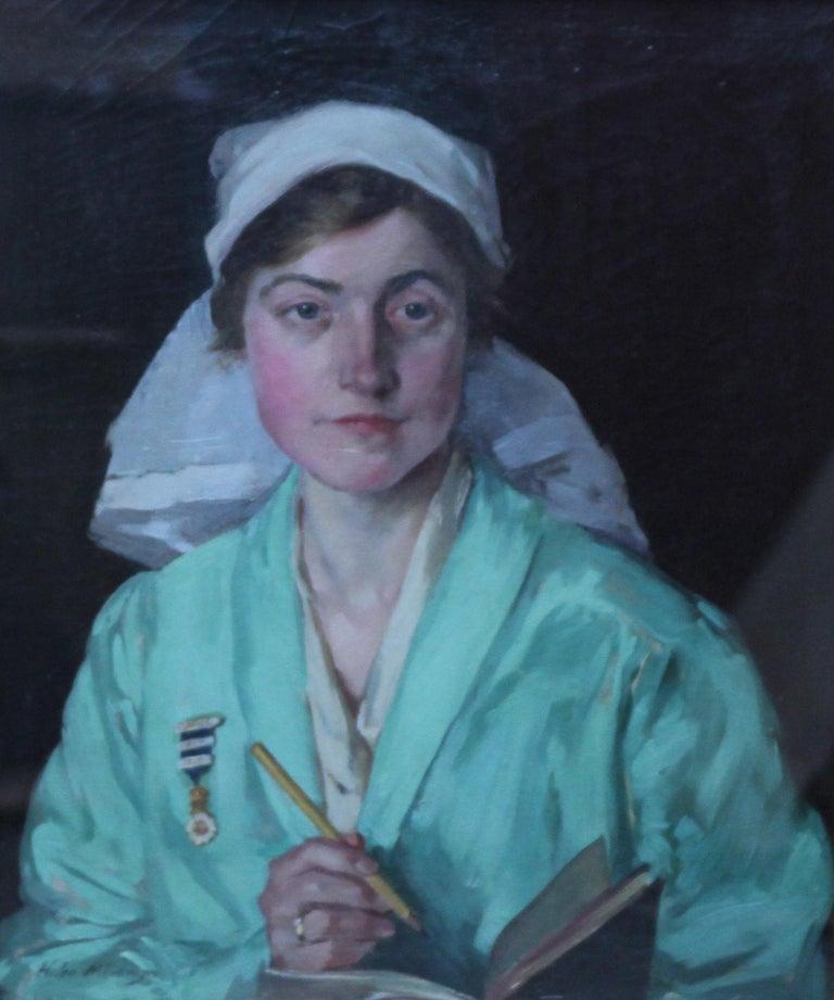 Nurse Dorothy Hewins - Scottish art 1918 portrait oil painting female artist  - Painting by Helen Margaret MacKenzie