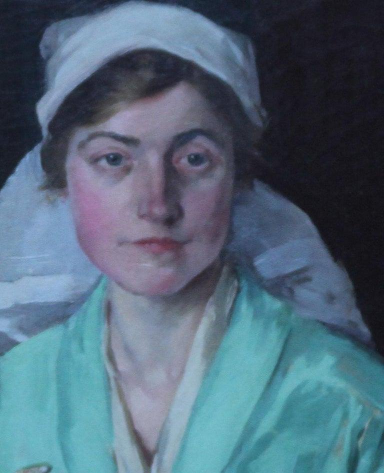 Nurse Dorothy Hewins - Scottish art 1918 portrait oil painting female artist  - Realist Painting by Helen Margaret MacKenzie