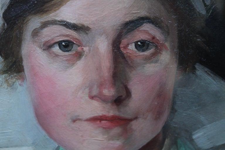 Nurse Dorothy Hewins - Scottish art 1918 portrait oil painting female artist  - Black Portrait Painting by Helen Margaret MacKenzie