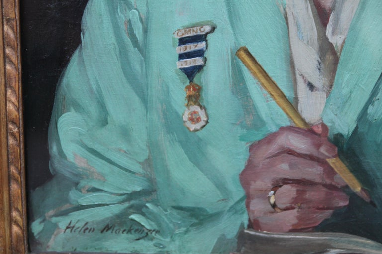 This charming  portrait oil painting  is by famous exhibited Scottish female artist Helen MacKenzie. This realist portrait is of Dorothy Hewins, a nurse, circa 1918. She is poised with pen and notebook in hand, wearing her green uniform and nurses
