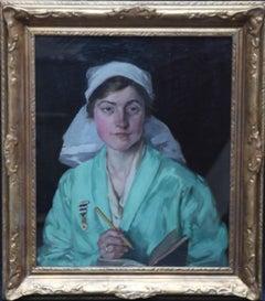 Portrait of a Nurse - Scottish art 1918 oil painting female artist NHS