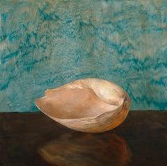 Bailer Shell - Single Bailer Sea Shell on Brown Table w/ Green Watered Backdrop