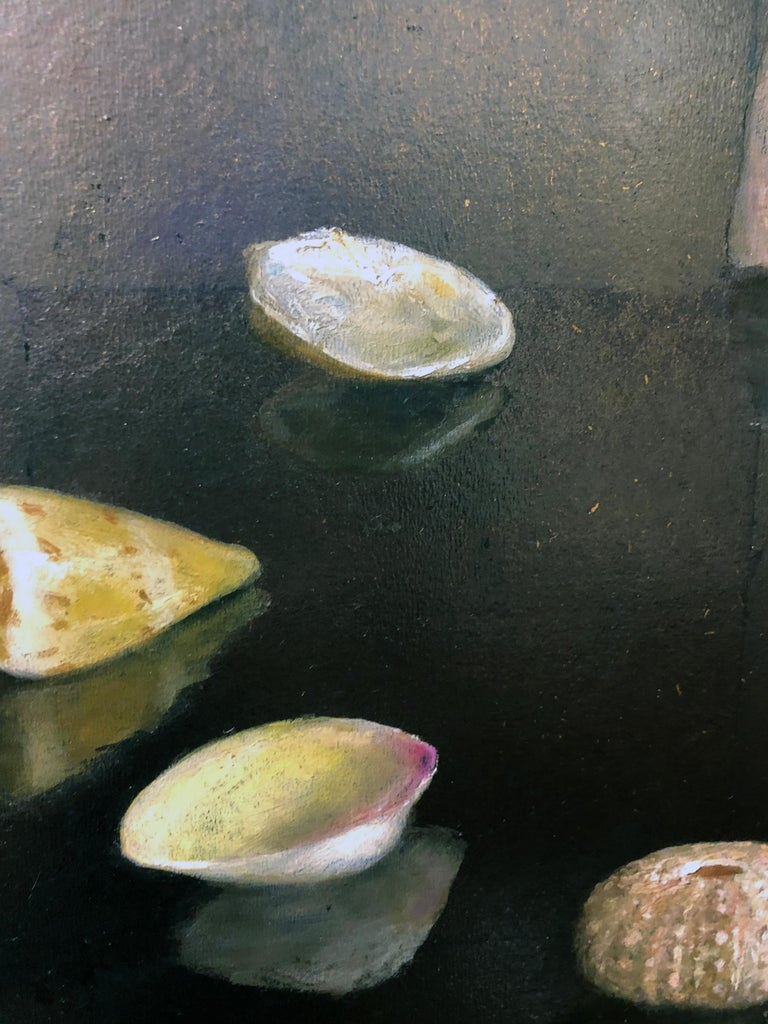 Circle of Shells - Original Oil Painting on Silver Leaf, Sea Shell Arrangement For Sale 2