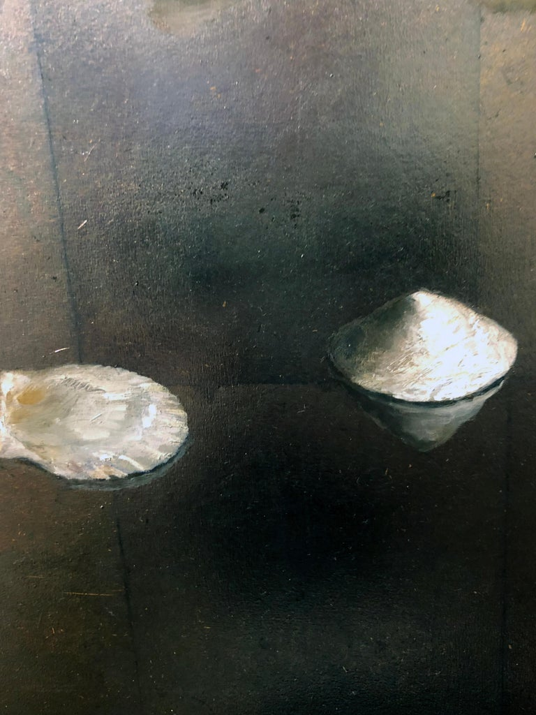 Circle of Shells - Original Oil Painting on Silver Leaf, Sea Shell Arrangement For Sale 3