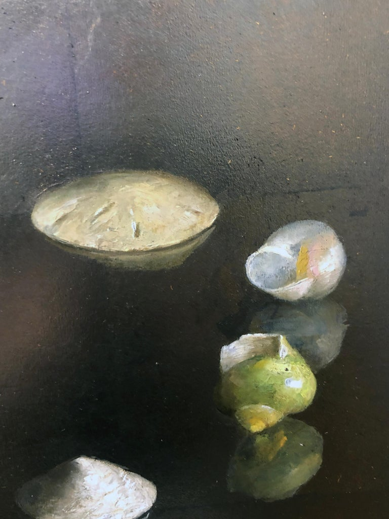 Circle of Shells - Original Oil Painting on Silver Leaf, Sea Shell Arrangement For Sale 5
