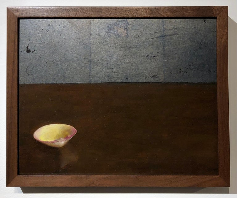 Clam Shell - Single Yellow Sea Shell on Brown Table with Silver Leaf Overlay - Painting by Helen Oh