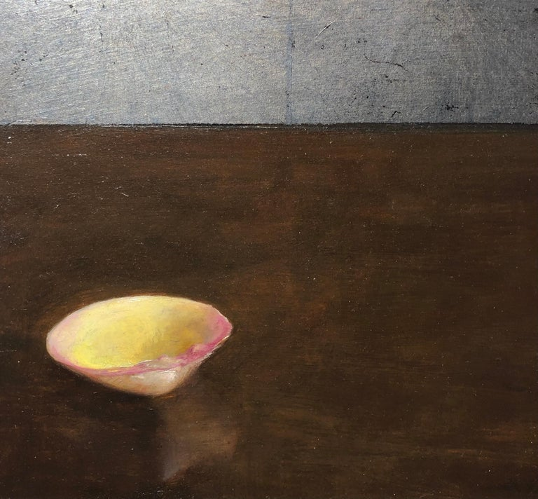 Clam Shell - Single Yellow Sea Shell on Brown Table with Silver Leaf Overlay - Realist Painting by Helen Oh