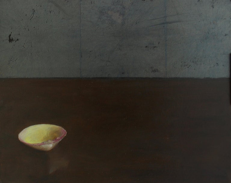 Helen Oh Animal Painting - Clam Shell - Single Yellow Sea Shell on Brown Table with Silver Leaf Overlay