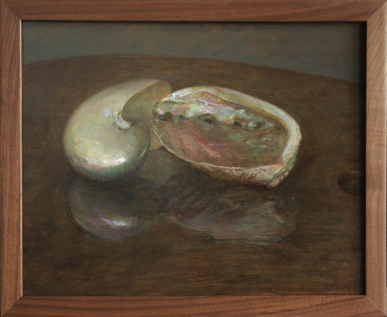 Nautilus and Abalone, Sea Shells Still Life, Original Oil Painting on Panel - Black Animal Painting by Helen Oh