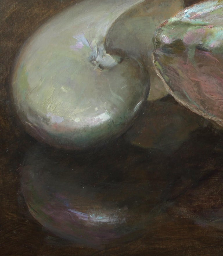Nautilus and Abalone, Sea Shells Still Life, Original Oil Painting on Panel 1