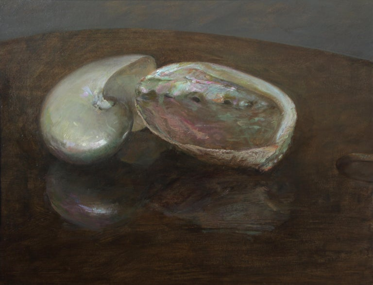 Helen Oh Animal Painting - Nautilus and Abalone, Sea Shells Still Life, Original Oil Painting on Panel