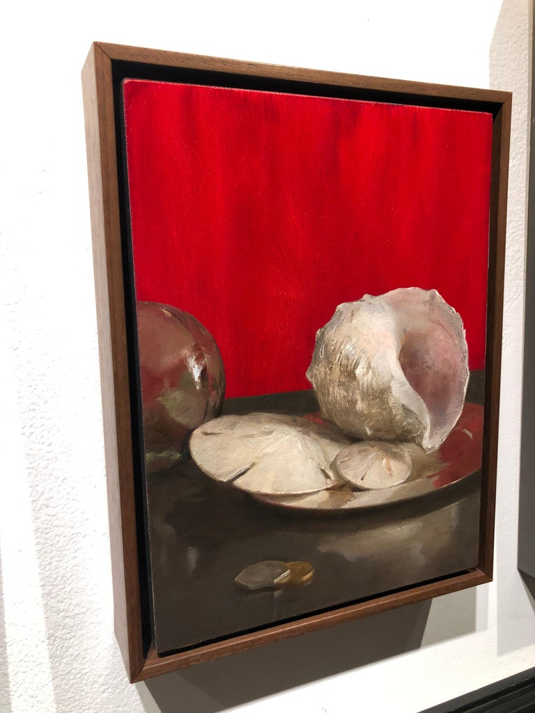 Sea Shell Still Life (Red), Original Oil Painting with Shells, Coins and Orb For Sale 4