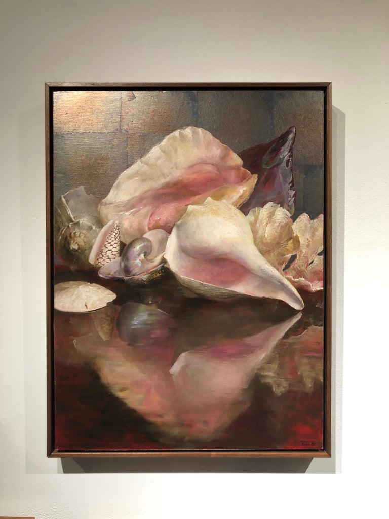Shells with Reflections, Original Oil Painting, Oil and Silver Leaf on Panel For Sale 3