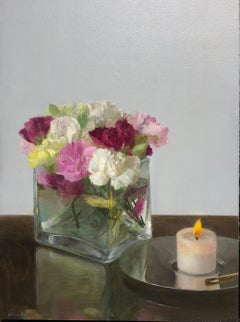 Still Life with a Candle -Glass Vase of Pink & White Flowers with Burning Candle