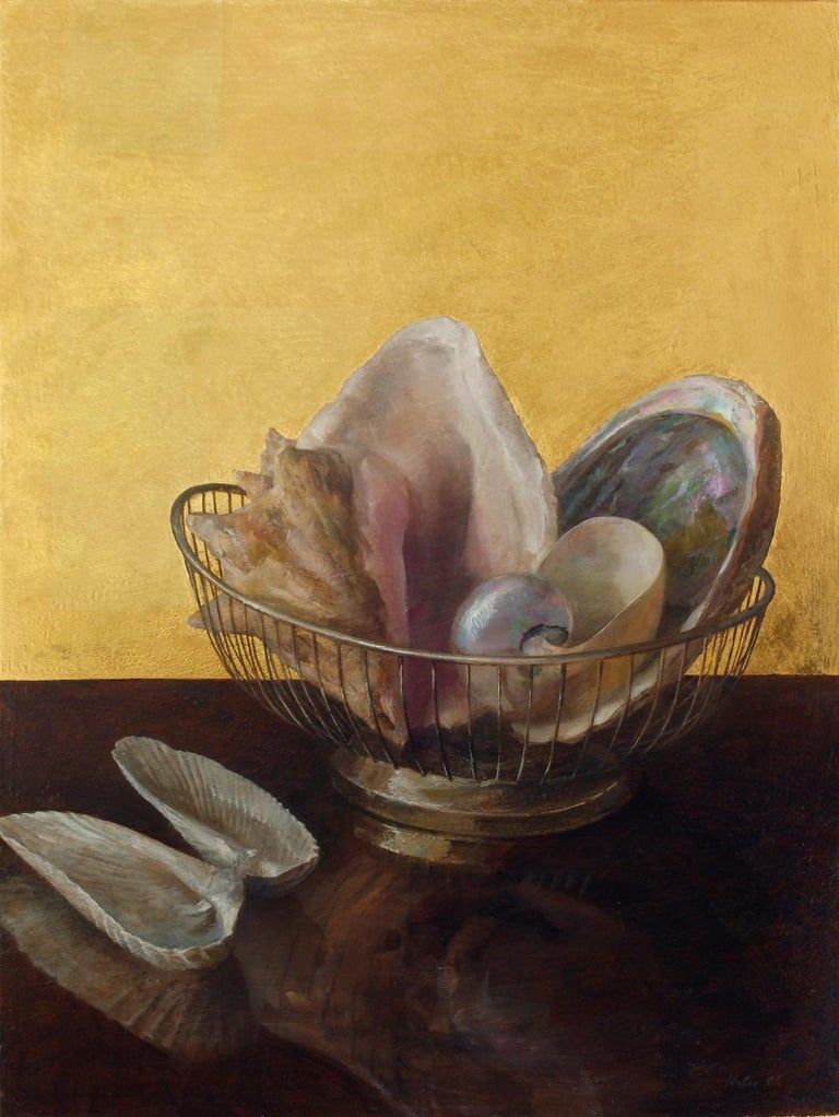 Still Life with Angel Wing Shells - Shell Collection w/ 23K Gold Leaf Backdrop - Realist Painting by Helen Oh