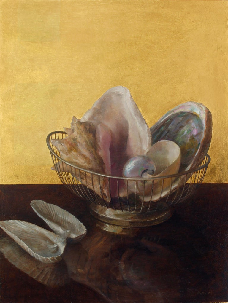 Still Life with Angel Wing Shells - Shell Collection w/ 23K Gold Leaf Backdrop - Brown Animal Painting by Helen Oh