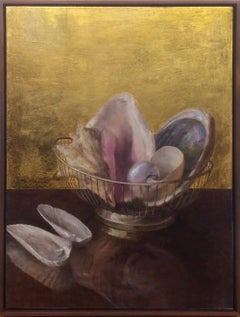 Still Life with Angel Wing Shells - Shell Collection w/ 23K Gold Leaf Backdrop