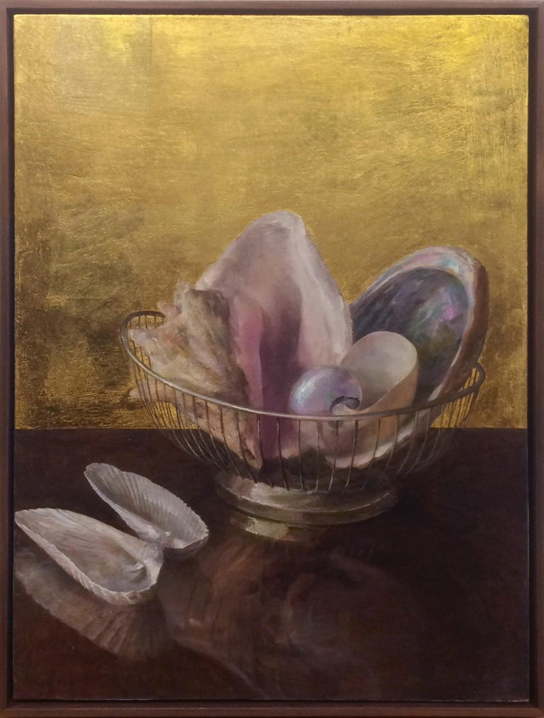 Helen Oh Animal Painting - Still Life with Angel Wing Shells - Shell Collection w/ 23K Gold Leaf Backdrop