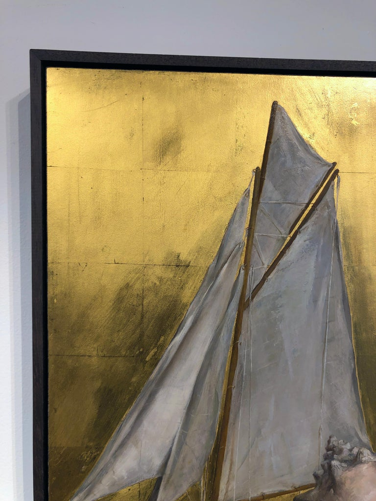 Still Life with Sail Boat on Gold Leaf, Original Nautical Oil Painting on Panel 7