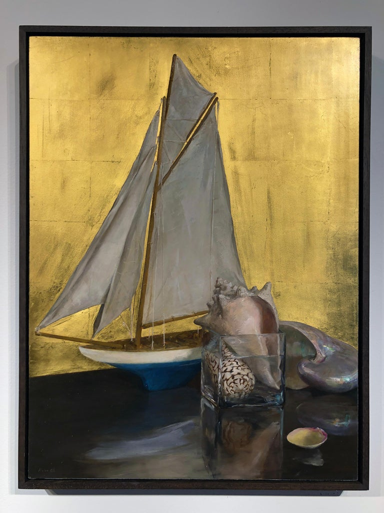 Still Life with Sail Boat on Gold Leaf, Original Nautical Oil Painting on Panel 12