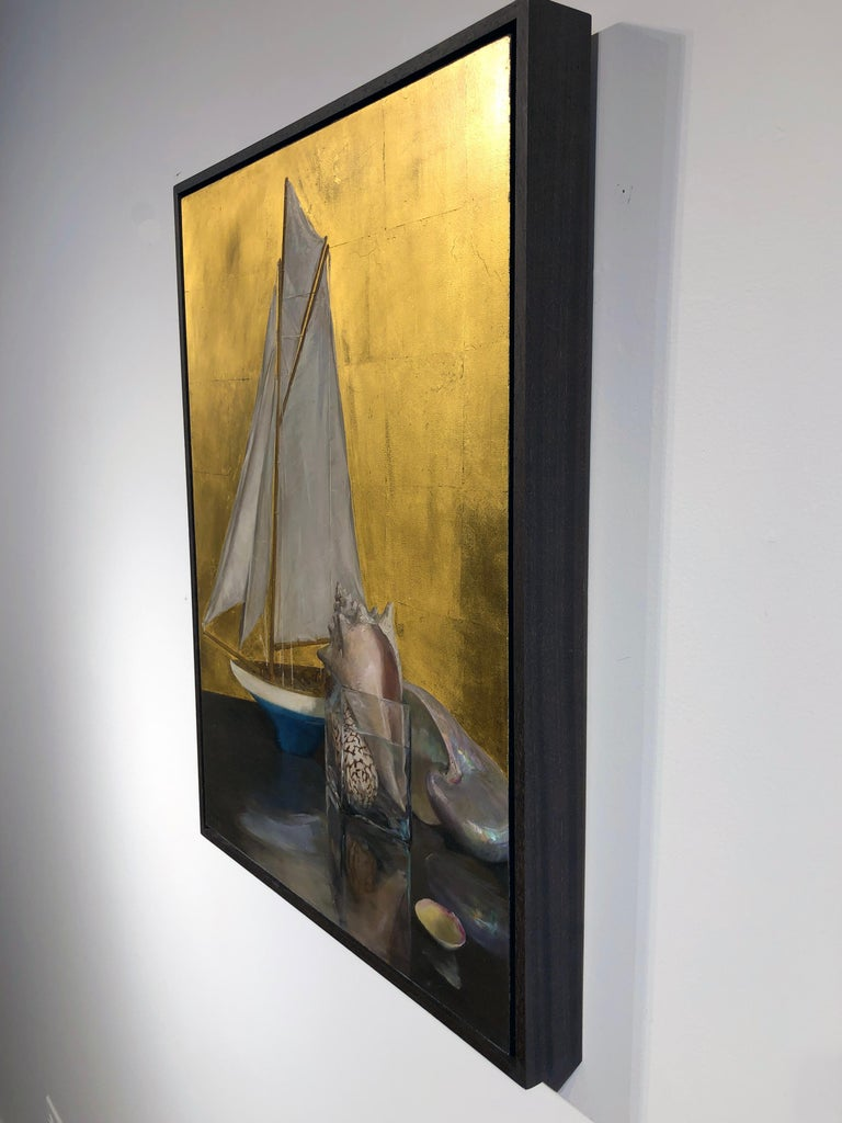 Still Life with Sail Boat on Gold Leaf, Original Nautical Oil Painting on Panel 13
