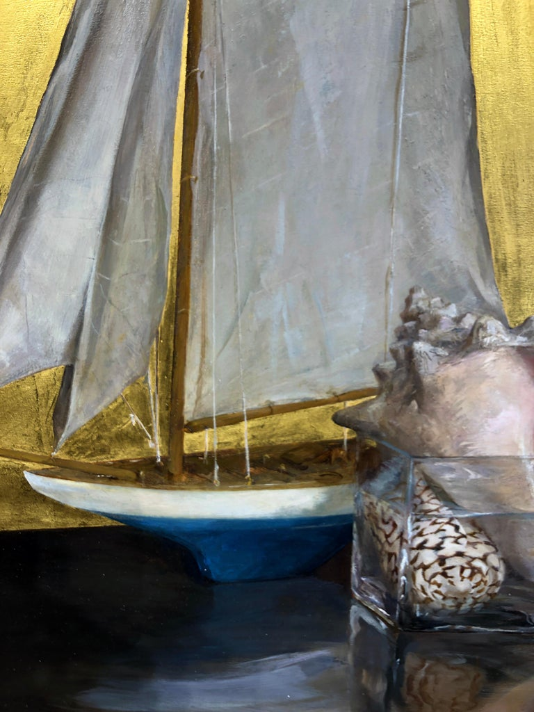 Still Life with Sail Boat on Gold Leaf, Original Nautical Oil Painting on Panel - Brown Still-Life Painting by Helen Oh