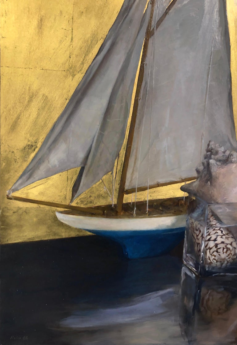 Still Life with Sail Boat on Gold Leaf, Original Nautical Oil Painting on Panel 1