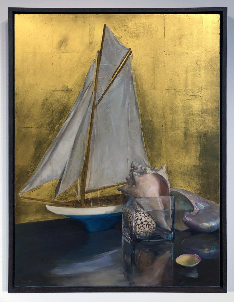 Still Life with Sail Boat on Gold Leaf, Original Nautical Oil Painting on Panel 2