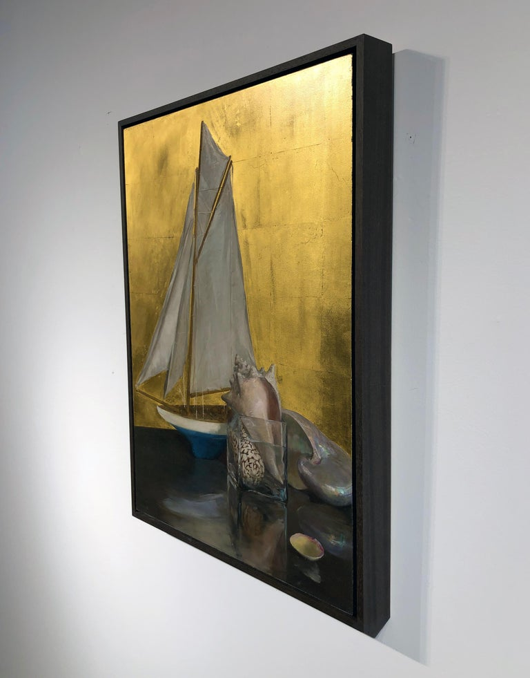 Still Life with Sail Boat on Gold Leaf, Original Nautical Oil Painting on Panel 3