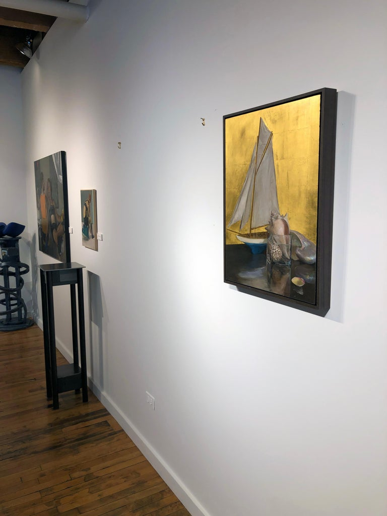Still Life with Sail Boat on Gold Leaf, Original Nautical Oil Painting on Panel 4