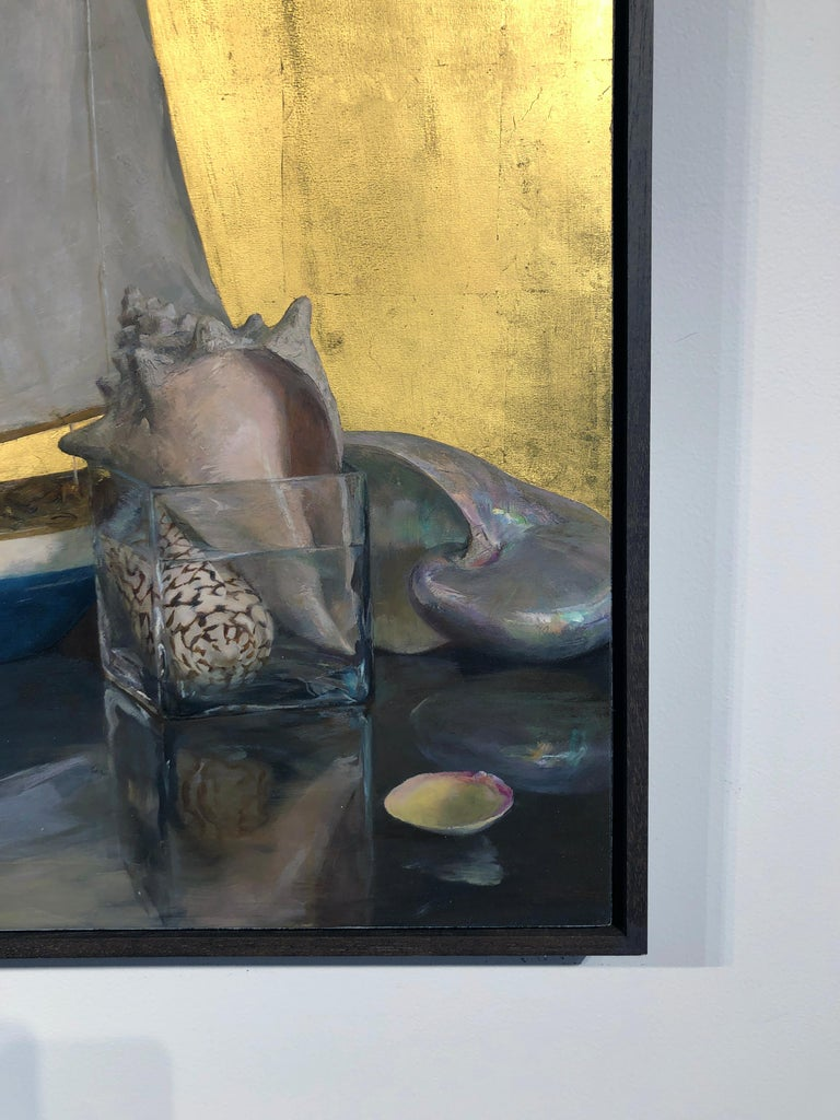 Still Life with Sail Boat on Gold Leaf, Original Nautical Oil Painting on Panel 5