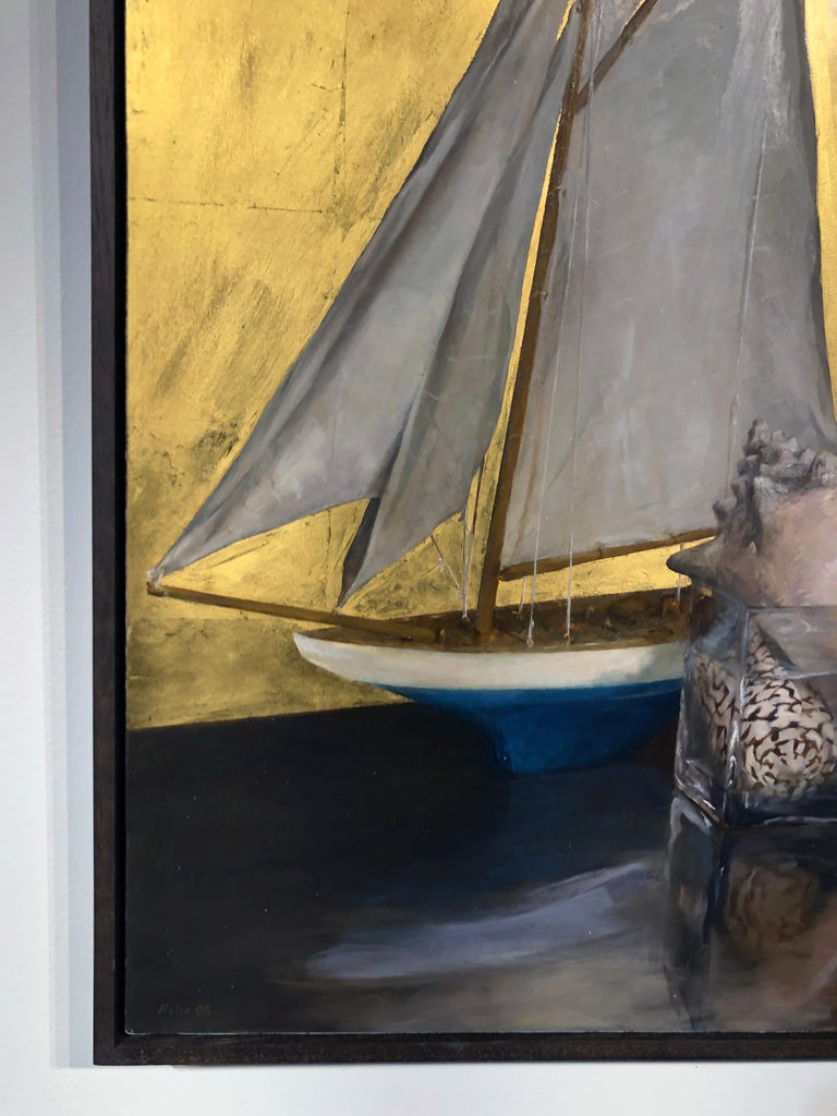 Still Life with Sail Boat on Gold Leaf, Original Nautical Oil Painting on Panel 6