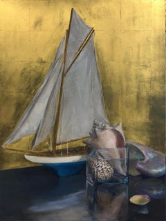 Still Life with Sail Boat on Gold Leaf, Original Nautical Oil Painting on Panel