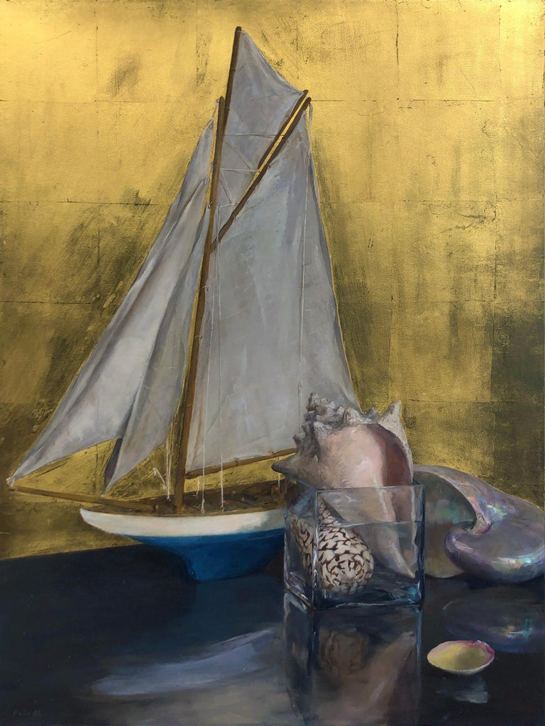 Helen Oh Still-Life Painting - Still Life with Sail Boat on Gold Leaf, Original Nautical Oil Painting on Panel
